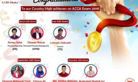 LCBS Dhaka – Our Country High Achievers on ACCA Exam 2019